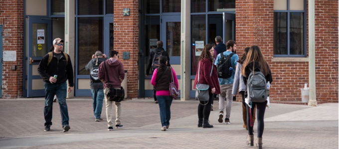 Students walking in and out of the Tivoli Student Union