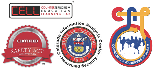Logos for Colorado Information Analysis Center, Community Awareness Program, Counterterrorism Education Learning Lab and the certification logo for the Department of Homeland Security
