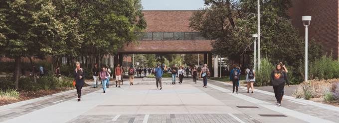 Students walking on Auraria Campus
