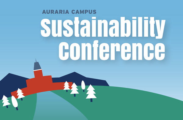 Earth Week Sustainability Conference for the Auraria Campus with Tivoli graphic and mountains