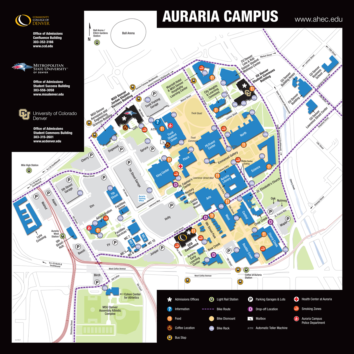 Auraria Campus Map Maps | AHEC Auraria Campus Map