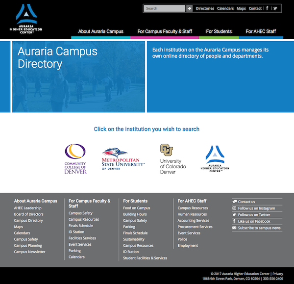 webpage image of the online directory