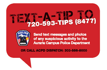 Graphic of a text bubble with the Text-a-Tip phone number: 720-593-8477.