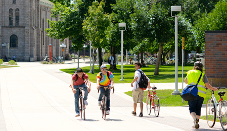 bikers on campus