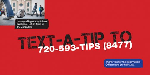 Use Text-a-Tip to quickly and discreetly report suspicious activity on campus