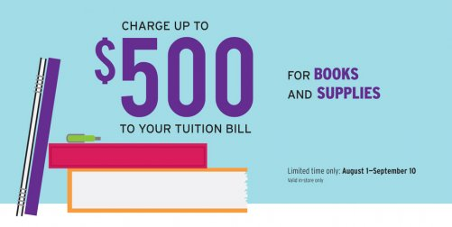 Ask an associate how you can charge books and supplies to your tuition in store at Tivoli Station