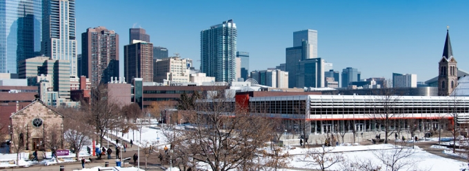 Winter view looking towards Auraria Library and downtown Denver