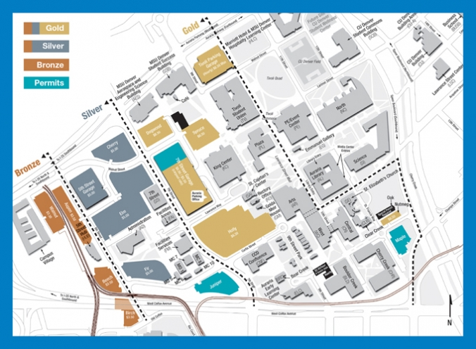 Campus map showing permit lots and gold, silver, bronze passport holders locations.