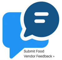 Submit Food Vendor Feedback with two blue talk bubbles to indicate chatting
